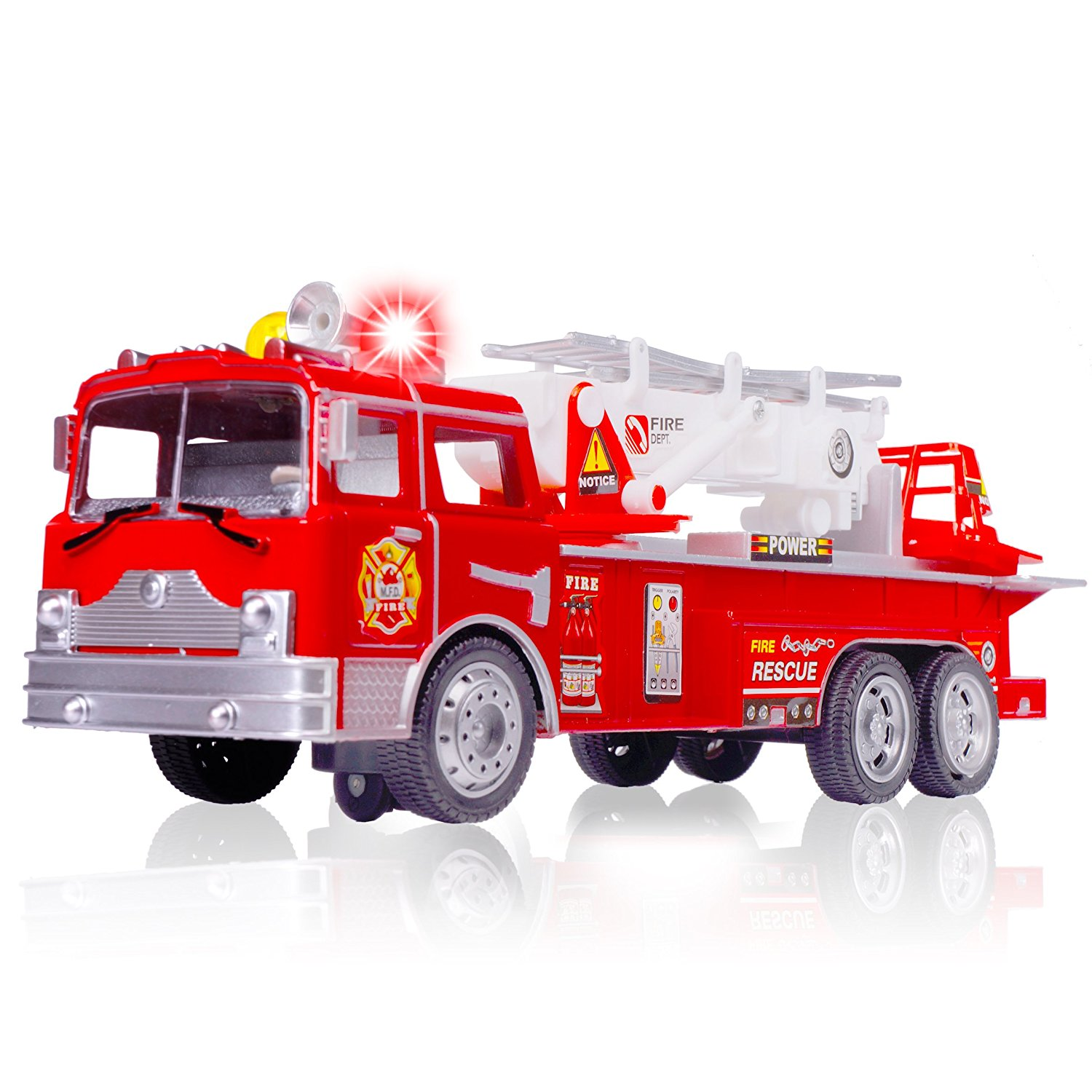 CifToys Amazing Fire Engine Truck Kids Toy: Best Large Bump & Go Rescue SOS  Car With Realistic Siren Sounds & Extending Ladder-Unique Gift For